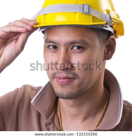 portrait engineer in studio - stock photo