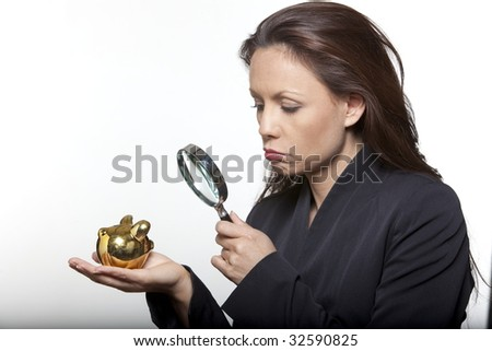 portrait expressive woman isolated background with small savings - stock photo
