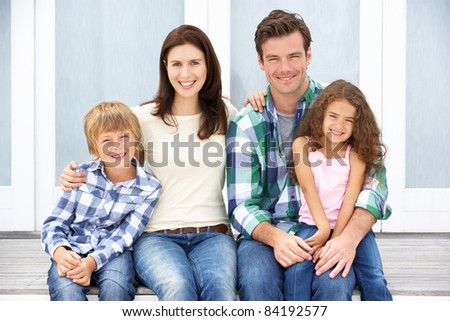 Portrait family outdoors - stock photo