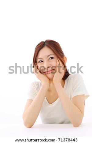 Portrait female japanese  on white background - stock photo
