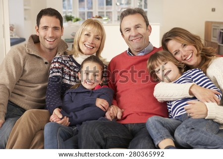 Portrait 3 generation family at home - stock photo