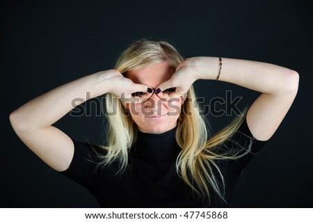 portrait girl in studio - stock photo