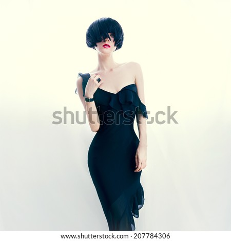 Portrait glamorous lady in evening dress - stock photo