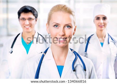 Portrait group of a young doctors
