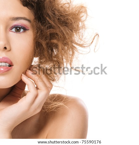 Portrait half of beautiful young woman with bared shoulders close up, on white background. - stock photo