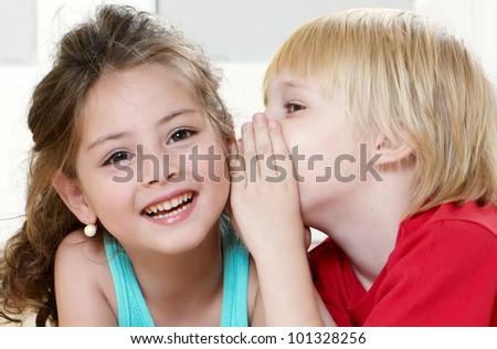 Portrait happy kids on light background - stock photo