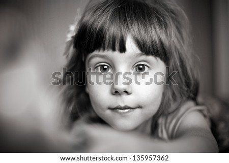 Portrait happy little girl. - stock photo