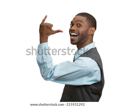 Portrait happy silly goofy man gesturing with hand thumb to go out Party get drunk, hammered, wasted, isolated white background. Positive human emotion Facial Expression feeling, sign, Body Language - stock photo