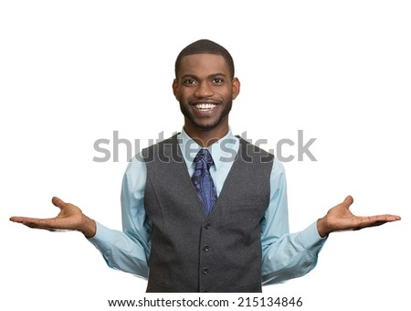 Portrait Happy, Smiling, Friendly looking business man welcoming, arms out isolated white background. Human facial expressions, positive emotions, feelings, body language, life perception, attitude - stock photo