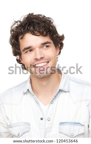Portrait head shot of a handsome smiling young man isolated on white background. He is looking to the side - stock photo