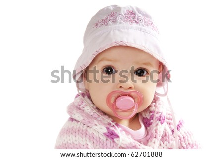 Portrait if pretty baby girl  with baby's dummy isolated on white background - stock photo