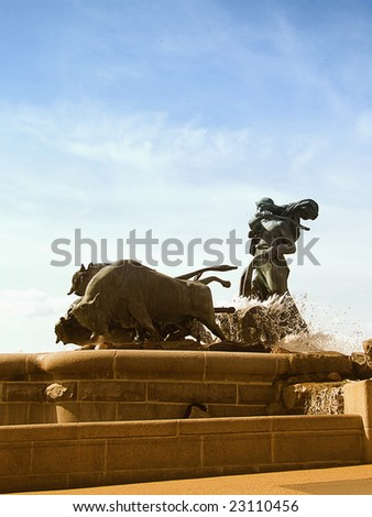 Portrait image of the gefion fountain situated in Copenhagen, Denmark - stock photo