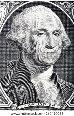 Portrait in macro of Washington's Face on a one dollar bill.