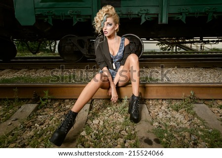 portrait in rock style - stock photo