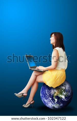 Portrait lady on the earth  : Elements of this image furnished by NASA - stock photo