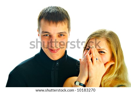 portrait laughing young people on white background