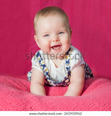 Portrait  little cheerful child laugh. Happy sweet cute face. - stock photo