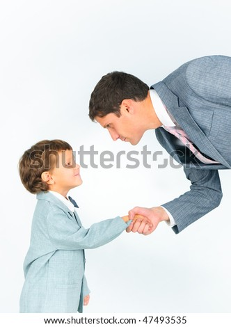 Portrait man and his son holding by hands