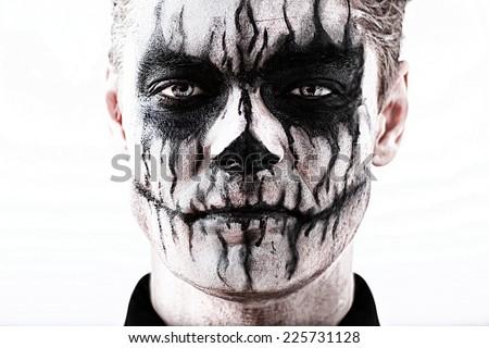 Portrait Man Halloween Skull Makeup Halloween Stock Photo 225731128 - Shutterstock