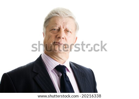 portrait  mature businessman on white background - stock photo