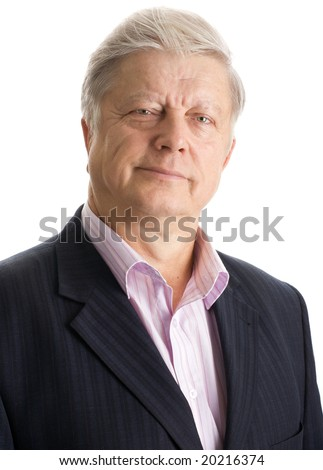 portrait  mature businessman on white background