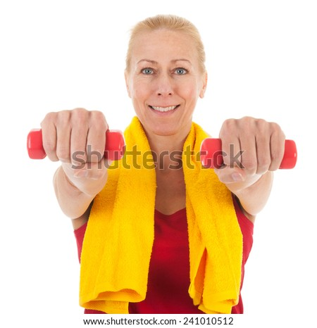 Portrait mature woman in fitness clothing with dumbbells isolated over white background - stock photo
