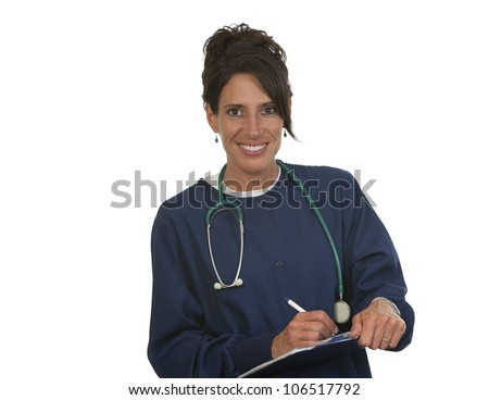 Portrait medical nurse. Isolated on white background.