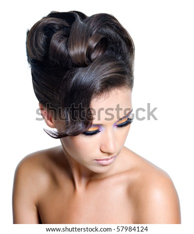 Portrait of a adult girl with stylish curly  hairstyle - stock photo