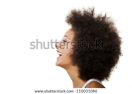 Portrait of a african american woman laughing, isolated on white background - stock photo