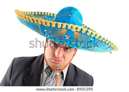 Portrait of a Angry Mexican Businessman - stock photo