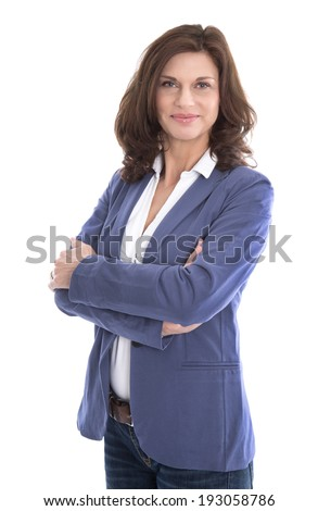 Portrait of a attractive and happy business woman isolated on white. - stock photo