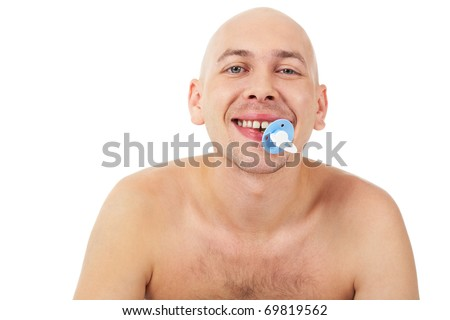 Portrait of a bald man sucking a pacifier - stock photo