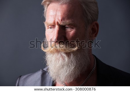 Portrait of a beard man with a long white beard.
