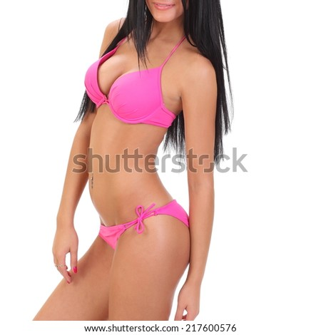 portrait of a beautiful adult sensuality woman in bikini - stock photo