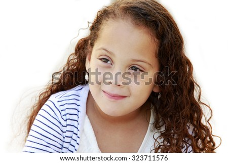 Portrait of a beautiful African American little girl isolated on white  - stock photo