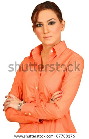 Portrait of a beautiful and confident young business woman smiling - stock photo