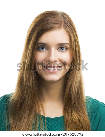 Portrait of a beautiful and happy young woman - stock photo