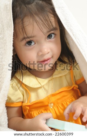Portrait of a beautiful asian baby - stock photo