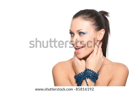 Portrait of a beautiful attractive girl with make up isolated on white background, series of photos - stock photo