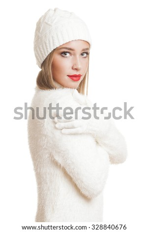 Portrait of a beautiful blond winter fashion beauty.
