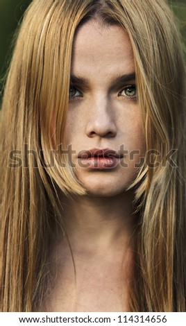 portrait of a beautiful blonde close-up - stock photo