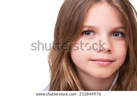 Portrait of a beautiful blonde girl over white - stock photo