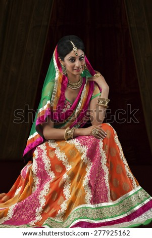Portrait of a beautiful bride - stock photo