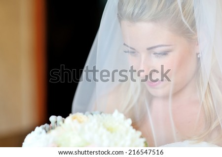 Portrait of a beautiful bride smiling.