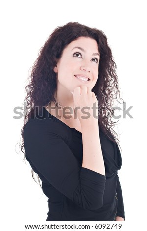 Portrait of a beautiful brunette, looking up and smiling. - stock photo