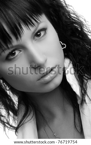 portrait of a beautiful brunette on white background - stock photo