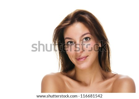 portrait of a beautiful brunette smiling woman on white background - stock photo