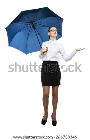 Portrait of a beautiful business woman holding a umbrella. Isolated on white background - stock photo
