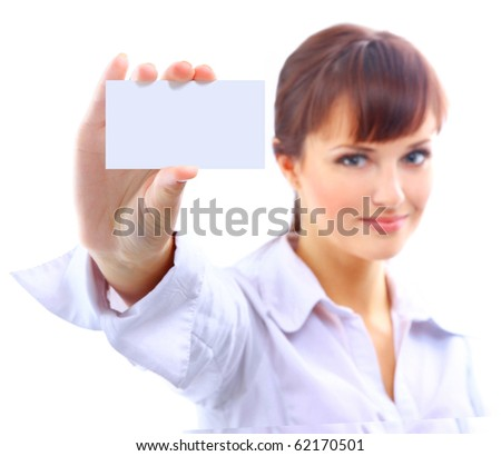 Portrait of a beautiful businesswoman holding a white card - stock photo
