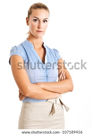 Portrait of a beautiful businesswoman. Isolated on white - stock photo